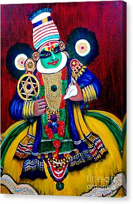 Canvas Print featuring the painting Kathakali..lord Krishna by Saranya Haridasan