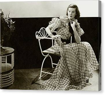 Katharine Hepburn Sitting On A Chair Canvas Print by Lusha Nelson