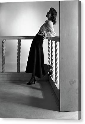 Full Skirt Canvas Print - Katherine Bard Wearing A Long Skirt by Horst P. Horst