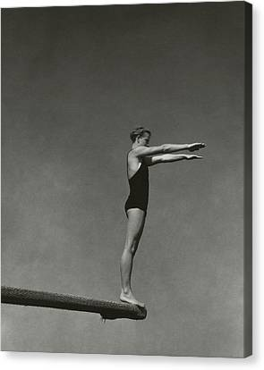 Board Canvas Print - Katherine Rawls Getting Ready To Dive by Edward Steichen