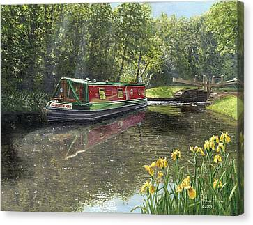 Kathleen May Chesterfield Canal Nottinghamshire Canvas Print by Richard Harpum