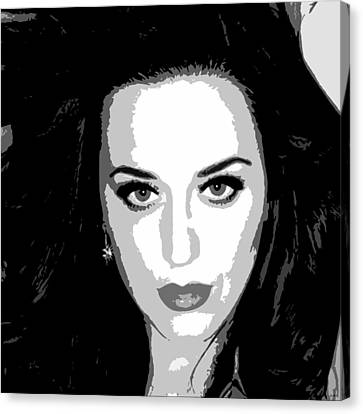Katy Perry Bw Warholesque Canvas Print by Anibal Diaz