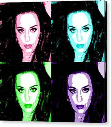 Katy Perry Warhol By Gbs Canvas Print by Anibal Diaz