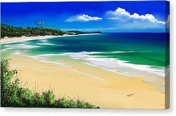 Canvas Print featuring the digital art Kauai Beach Solitude by Anthony Fishburne