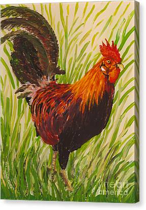 Canvas Print featuring the painting Kauai Rooster by Anna Skaradzinska