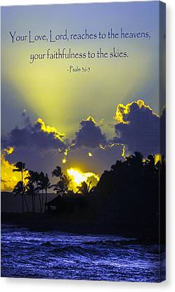 Kauai Sunset Psalm 36 5 Canvas Print by Debbie Karnes