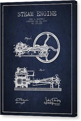 Kaufholz Steam Engine Patent Drawing From 1877- Navy Blue Canvas Print