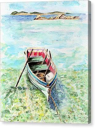 Kavala Row Boat Canvas Print