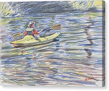 Kayak In The Rapids Canvas Print by Horacio Prada