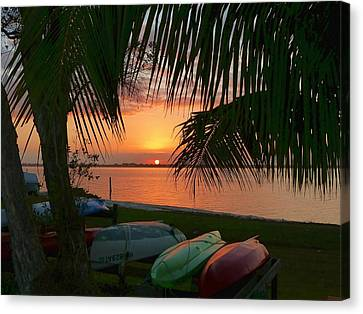 Canvas Print featuring the photograph Kayak Sunset by Elaine Franklin