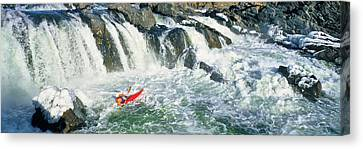 Kayaker Descending Waterfall, Great Canvas Print