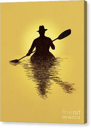 Kayaker Sunset Canvas Print by Garry McMichael