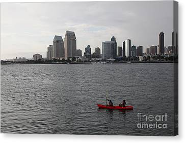 Kayaking Along The San Diego Harbor Overlooking The San Diego Skyline 5d24376 Canvas Print by Wingsdomain Art and Photography