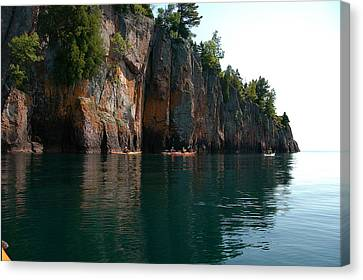 Canvas Print featuring the photograph Kayaking By Shovel Point by Sandra Updyke