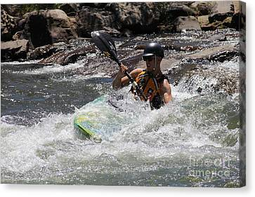 Canvas Print featuring the pyrography Kayaking In Golden by Chris Thomas