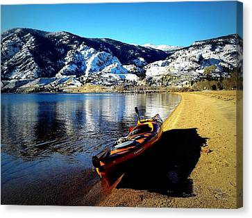 Kayaking In January Canvas Print by Guy Hoffman