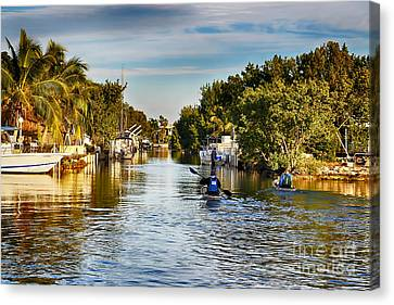 Kayaking The Canals Canvas Print