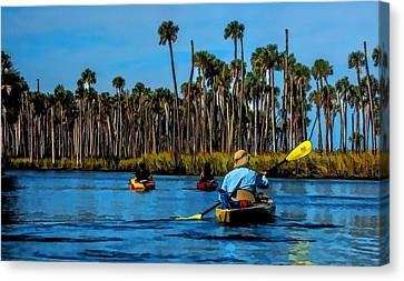 Canvas Print featuring the photograph Kayaking Weeki Wachee by Pamela Blizzard