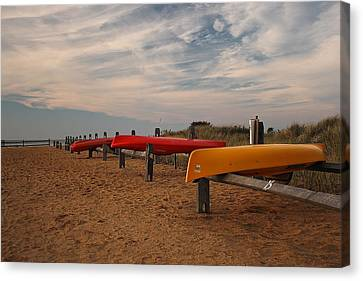 Canvas Print featuring the photograph Kayaks by Amazing Jules