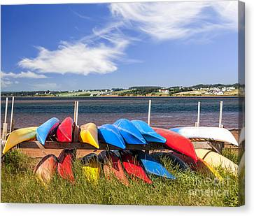 Kayaks At Atlantic Shore  Canvas Print by Elena Elisseeva