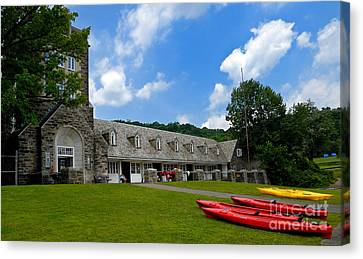 Kayaks At Boat House Canvas Print