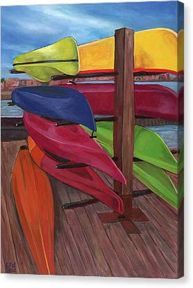 Kayak's At Tide Point Canvas Print by Edward Williams