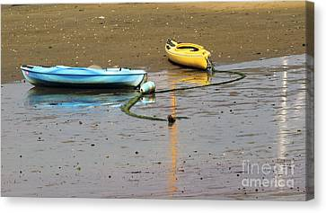 Kayaks-blue And Yellow Canvas Print