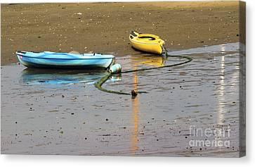 Canvas Print featuring the photograph Kayaks-blue And Yellow by Sebastian Mathews Szewczyk