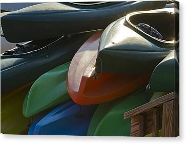 Canvas Print featuring the photograph Kayaks For Rent by Arthur Dodd