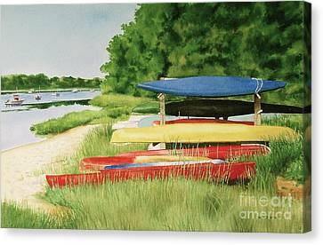 Canvas Print featuring the painting Kayaks In Limbo by Karol Wyckoff
