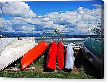 Kayaks On Camano Beach Canvas Print