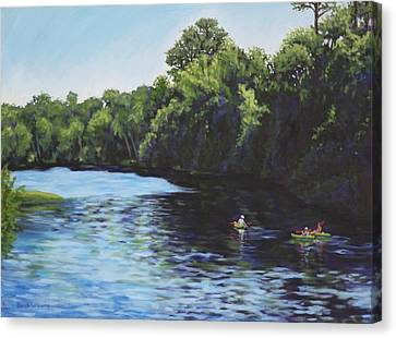 Kayaks On Rainbow River Canvas Print