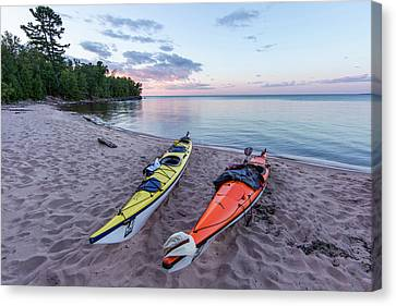 Kayaks On Sand Beach At York Island Canvas Print