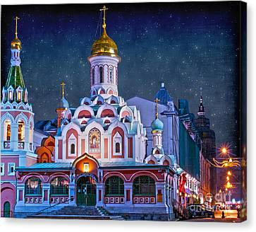 Orthodox Canvas Print - Kazan Cathedral. Red Square. Moscow Russia by Juli Scalzi