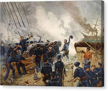 Kearsage Sinking The Alabama, June 19th Canvas Print