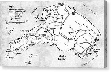Keats Island Map - Canadian Island  Canvas Print by Sharon Cummings