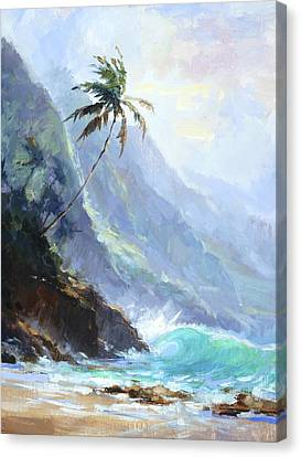 Palm Tree Canvas Print - Ke'e Beach by Jenifer Prince