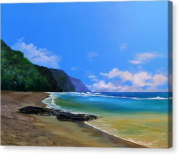 Ke'e Beach Kauai Canvas Print by Ken Ahlering