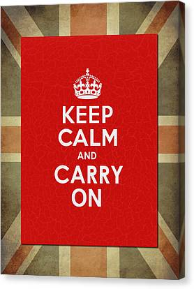 Keep Calm And Carry On Canvas Print by Mark Rogan