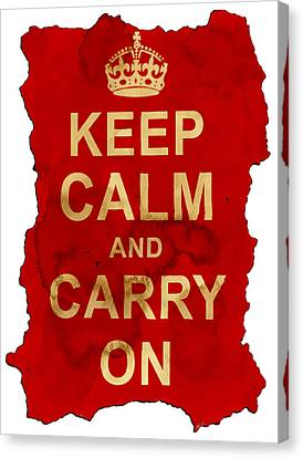 Canvas Print featuring the digital art Keep Calm And Carry On  by Nik Helbig