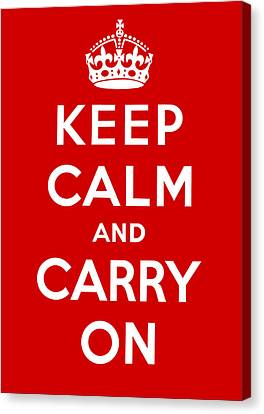 Canvas Print featuring the painting Keep Calm And Carry On by Pam Neilands