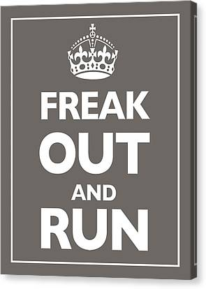 Keep Calm And Carry On Parody Brown Canvas Print by Tony Rubino
