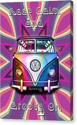 Keep Calm And Groovy On Canvas Print by Greg Sharpe