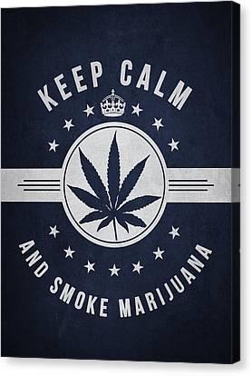 Keep Calm And Smoke Marijuana - Navy Blue Canvas Print