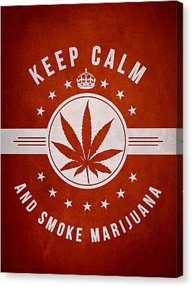 Keep Calm And Smoke Marijuana - Red Canvas Print