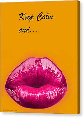 Keep Calm And Smooch Canvas Print by Geeta Biswas