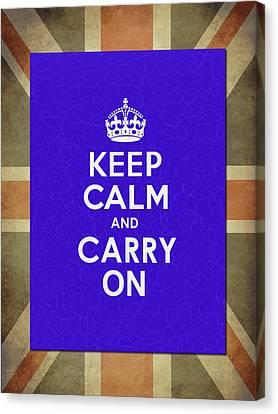 Keep Calm Blue Canvas Print