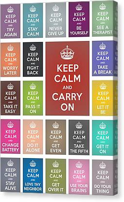 Keep Calm Classic Collage Canvas Print by Helena Kay