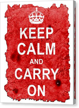 Canvas Print featuring the digital art Keep Calm Poster Torn by Nik Helbig