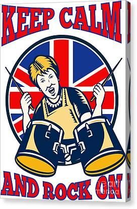 Keep Calm Rock On British Flag Queen Granny Drums Canvas Print by Aloysius Patrimonio